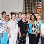 2014 Agave Co-President Kathy Neffenger (with her Board center left), installs Faith Bragg of Maricopa as President (with her new Board center right) for the new 2014-2015 quilting year.