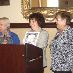 Esther Spear is shown accepting a Thank You Certificate from Joyce Spartonos and Shirley Shalett, co-presidents of Shalom Hadassah.