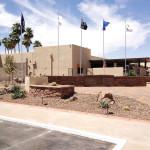 The beautiful pavilion and Veterans Flag Memorial