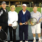Bob Pivec, Bob Lewis, Rae Lewis, Don Neu, Pierre Moresi and Rob Campbell are pictured after completing one of the Monday and Tuesday night free tennis clinics at Cottonwood. These CTC members volunteer their time to teach tennis to beginners and intermediate players.
