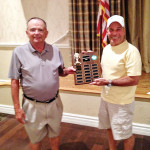 CMGA President, Rick Nelson, left, passes Home and Home trophy to Howard Weiss, MOGA President.