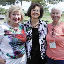 "Sun Lakes Garden Club members Joy Sutton (left) and Jan Bobbett (right) are pictured with Lee Ann Aronson, University of Arizona Master Gardener and presenter of ""Salsa Gardening with Herbs."""