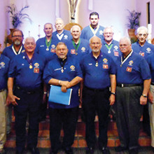 Pictured left to right - front row: Financial Secretary SK* Larry Edwards, Deputy Grand Knight SK Ed Berger, Chaplain SK Fr Pierre Hissey, Grand Knight SK Thom Phar, Chancellor SK Peter Bracchi, and Warden SK Chuck Melchioris; second row: District Warden SK Keith Baker, Recorder Nick Nichols, Trustee one year SK George Holland, Trustee two years SK Albert Forte, Trustee three years SK Marcel Baadte, Treasurer SK Paul DeRose, and District Deputy Tony Dickherber; back row: Inside Guard George LeFrance and Advocate SK Lawrence Lazzara *SK - Sir Knight (individual has attained the level of fourth Degree Knight)