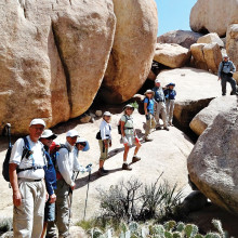 Sun Lakes hikers winding around boulders in Joshua Tree National Park.