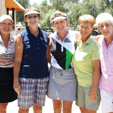 Golfers Debra Emerick, Nancy Field, Kelly Dennis, Betty Peer and Jean Jones celebrating summer birthdays.
