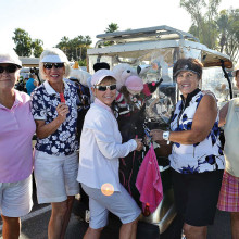"""We are ready for golf!"" Billie Seiberling, Virginia Diers, Sandy Johnson, Jo Crook and June Park."