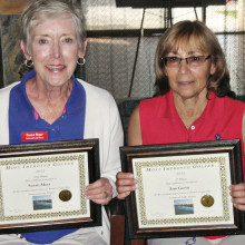 The two Most Improved Golfers for 2013 are Susan Meer (left) and Ann Gavin (right).