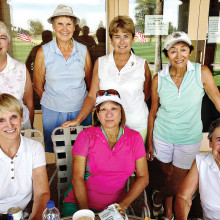 OLGA ladies enjoying beverages on the Pro Shop patio after play June 3; back row: Beth, Eleanor, Jeanne and Debbie; front row: Glo, Carol and Joyce.