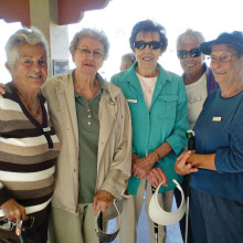 Ready for Lady Putter's golf are left to right Norine Basset, Bev Herb, Pat Kruse, Sue Core and Shirley Goslin
