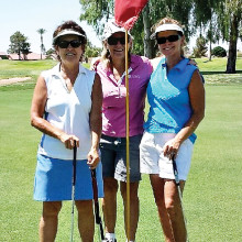 Summer league golfers Bonnie Moore, Mary Mosby and Kelly Dennis