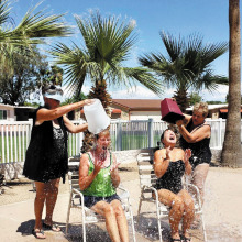 Betty Ulrich and Jane Hamner enjoyed the ALS awareness ice bucket challenge at the summer party!
