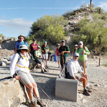 Sun Lakes hikers taking a break in South Mountain Park