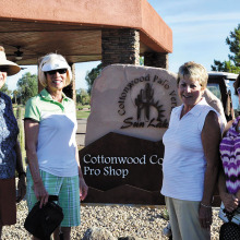 Diana Ridd, Virginia Diers, Rose Hames and a new member check out the new pro show monument sign.