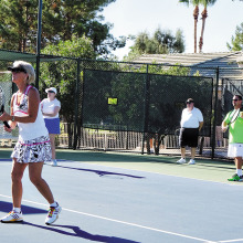 The IronOaks Tennis Club summer social included a clinic by Josh Bates and Gustavo Sanchez.