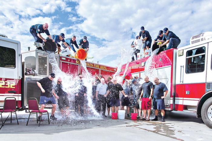 The Sun Lakes Fire Department Station 232 takes the Ice Bucket Challenge! Photo credit: John Livoti and Ann Posiviata
