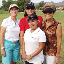 Overseeding prompted Glo Malmberg, Carol Russell, Barbara DeNapoli and Rita Mabry to play a round of golf at Ahwatukee Country Club on October 7.