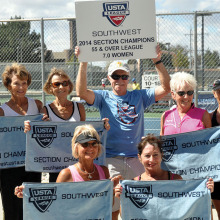 USTA Sectional winners: (standing) Judy Gahide, Judy Lamers, Vicki Eslick, John Radcliffe, Pat Davidson, Karen Kutchyera and Barb McEwen; (kneeling front left to right): Lois Newman and Lynn Cox; (missing) Susan Stewart and Lyn Belisle.