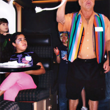 Gary Kanowsky doing magic for the kids on the train.