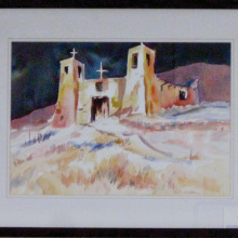 """Sharon Gouthro's painting for """"Castles and Cathedrals"""" hanging in the Cottonwood Art Room."""