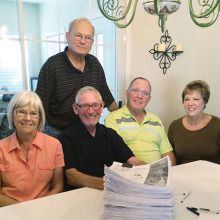 Pictures with their stack of 603 Patriot's Pen essays to judge are left to right final judges Sharon and Terry Spahr, Tom Whittenberg, VFW Scholarship Coordinator and Bob and Sue Shields.
