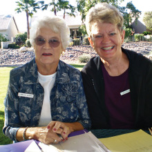 Pictured left is Camille Jasien, the Lady Putter's Treasurer and also the Monday Flight Leader. Right is Colleen Foley, Monday Flight Leader assistant. Both ladies have been busy with Lady Putters for several years as well as other Sun Lakes organizations.