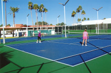 The ladies are pictured at play on their regularly scheduled Wednesday morning. All courts were filled and we were so happy to be playing with friends who have returned for the season!