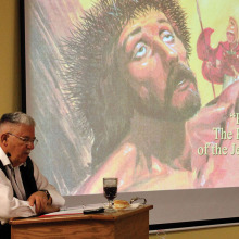 Professor Rod Carruthers teaching one of his popular bible study seminars at SLUMC.