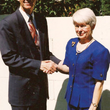 November 1995 - Ann Porter became the first paid director of Neighbors Helping Neighbors and was greeted by Rev. Gary Vaughn, president of the Neighbors Ministry Program, Neighbors Helping Neighbors and pastor of the Sun Lakes Community Church.