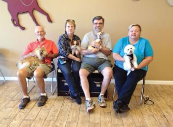 Rod Martin with Smokie, Cindy Crenshaw with Katie, Gary Crenshaw with Annie and Darlene Johnson with Dewy.