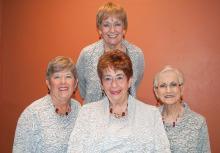 All That Jazz! Front from left: Cindy Edwards, Bev Borneman, Kay Davis; Back: Chris Roen