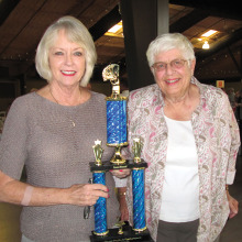 Second place winners of the annual Pro-Am Bridge Event Susan Howard and Jennine Barnes.