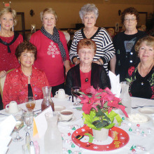 Enjoying the Lady Putters' Christmas luncheon are left to right front row Judy Hester, Colleen Hendrickson and Pam Hansen; back row left to right are Linda Raphael, Pat Camp, Carol Stagger and Laurie Lombardo