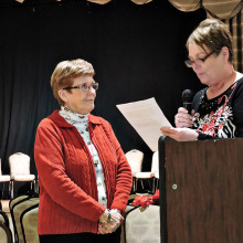 Longtime OLNGA volunteer Pattie Wigton inducted by Vice President Bev Isley