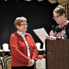 Longtime OLNGA volunteer Pattie Wigton inducted by Vice President Bev Isley