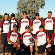 The World Champion Team Ambush: Back row (left to right) Larry Kaufmann, Kenny Sheffield, Joe Ellis, Tim Carmichael, Frank Tanner, Steve Hilby and Mike Gloyd; front, kneeling (left to right) John Underwood, Bruce McClain, Terry Hepner and Chuck Schaan. (Missing, on disabled list: Al Hawkensen, Dave McCormick and Mike Wolfe).