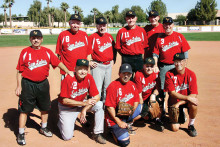 The State Farm Insurance Championship Team – standing (left to right) Steve Kay, Jack Strauss, Larry Wolfe, Hal Kime, Rich Nadler and Ed Sowney; kneeling (left to right) Gary Alexander, Dave Martin, Stan Weis and Mgr. Larry Kaufmann; missing: Al Grefsheim and Tim Loeffler (Photo by Core Photography, LLC).