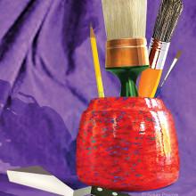 Susan favors huge sash brushes when she paints!