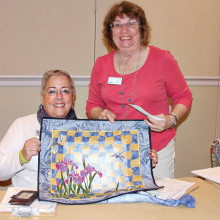 Education Assistant Laura Alexander and Agave Education Director Marti French show a sample from an upcoming workshop.