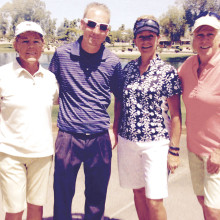 Pictured are Susan Hayward, Mikki Rydell and Nancy Hermanson with our Pro for the Day Shaun Decker.