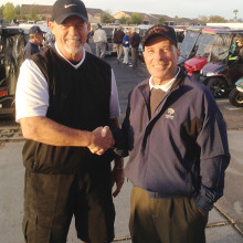Howie Weiss (right) congratulates TJ Jones for accepting the Presidency of MOGA.
