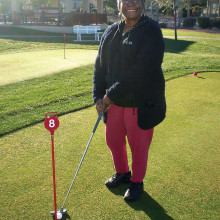 Annie Hall, Lady Putter's President, takes a few practice shots. Annie and husband Jack have lived in the Sun Lakes area for 19 years and live in Cottonwood. They are retired from the federal government and settled here from Macedonia, Ohio.