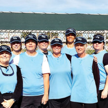The 2015 Lady Sluggers pictured left to right are Billi Jo Maggio, Sue O'Connell, Ellen Williams, Pat Monson, Kim Hatch, Lynn Casey, Terry Finley, Alyson Stephens, Teresa Dorman, Nora Lavlin, Judy Grefsheim and Charlene Ellis.