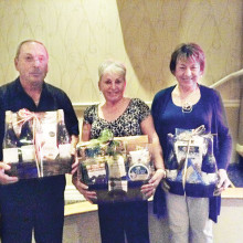 Winners of our door prizes at the January dance (left to right): Bob Smith, Betty Reagan and Ann Zangger.