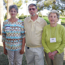 Pictured left to right are Lois McWhirten (new member), Fred Giese (speaker) and Velma Steinman (member since 1999).