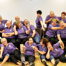 The ImproVables relax at a recent Monday workshop. They are (front row) Joyce Recupido, Sandy Pallett, Phyllis Novy, Sandy Ilsen and Elaine Pilbrow-Cash; (second row) Joella Birlin, Jim McElhanny, Roxy Banta, Jim Nielsen, Andrea Hummel and Ted Peck; (back row) Bob Petrucelli, Janine Schneck, Howard Hummel and Joan Berger.