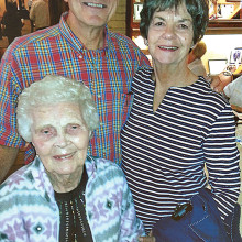 Pictured left to right are Helen Perkins, her son, Steve and his wife, Marianne.