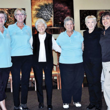 Julie Schneider, Bonnie Tasch, Fran Neumayr, Betty Perry, Susie Cook and Cora Lathom-Levensky receiving birdie pins.