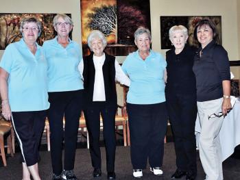 Julie Schneider, Bonnie Tasch, Fran Neumayr, Betty Perry, Susie Cook and Cora Lathom-Levensky receiving birdie pins.