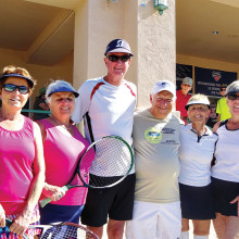 Gender Doubles winners: Olena Buxton and Barb Yanke (3.5), Mike Corey and Leo Lapane (4.0), Lola Berndelli and Carmelle Davin (4.0); not pictured: Len Paulson and Jerry Geiszler (3.5)