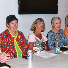 Officers of the Sun Lakes Tennis Club are Treasurer Dick Haynes, Vice President Betty Dunn, President Mary Jane Robinson, Secretary Nancy Sjolin, Intraclub Assistant Dennis White and Tournament Director Wayne Taylor; not pictured is Intraclub Assistant Dave Anciaux. Our club is fortunate to have these members serve; Mary Jane has held the President's office for eight years, Dick Haynes has served as Treasurer for four years, Nancy Sjolin as Secretary for two years, Dave Anciaux has assisted our club as Tournament Director and in the scheduling for eight years, and Wayne Taylor has assisted with the scheduling for five years. This shows true dedication and you are appreciated for all the work.